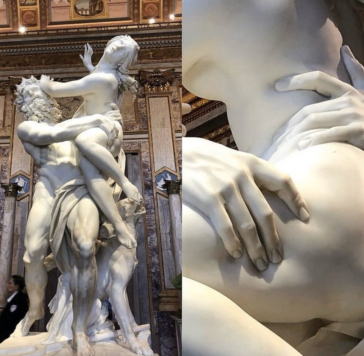 """""""Ratto di Proserpina"""" is a large Baroque marble sculpture by Italian artist Gian Lorenzo Bernini, made between 1621 and 1622. He was 23 when he completed this sculpture"""
