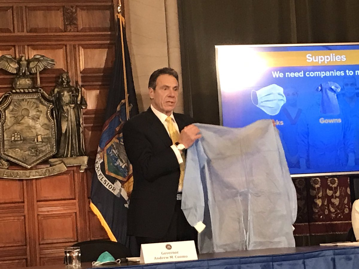Cuomo has props today. Pleading for businesses to manufacture gowns, masks and face shields.