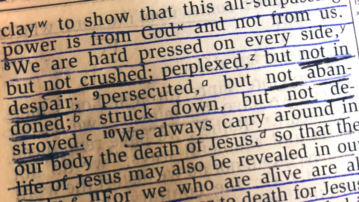 Not crushed, not in despair, not abandoned, not destroyed- because of Jesus. // 2 Cor. 4:8