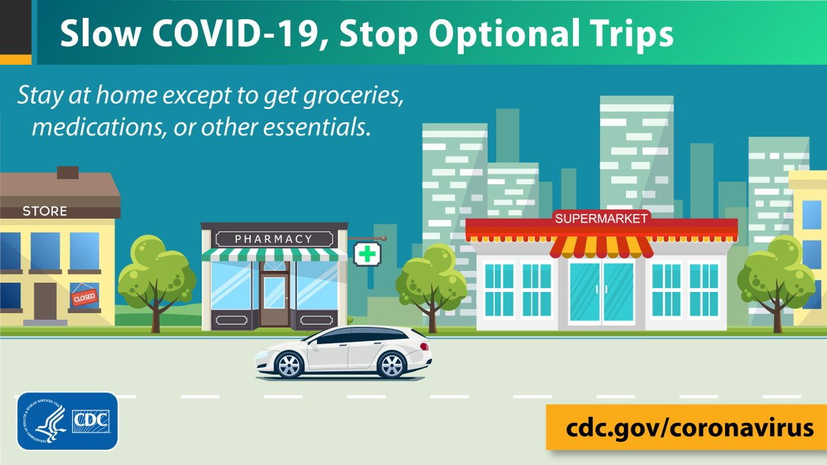 To slow the spread of #COVID19, stay at home except to get groceries, medications, or other essentials. Avoid outings you don't have to take. Visit the FAQs for more tips: bit.ly/2UbVHEZ. #PhysicalDistance #SocialDistancing