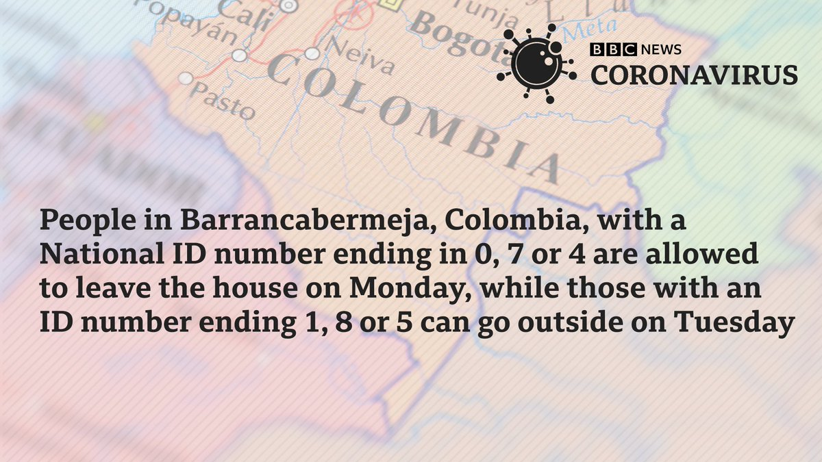In some Colombian towns, people are allowed outside based on the last digit of their national ID number Nearby Bolivia is proposing a similar approach bbc.in/2xHFqiD