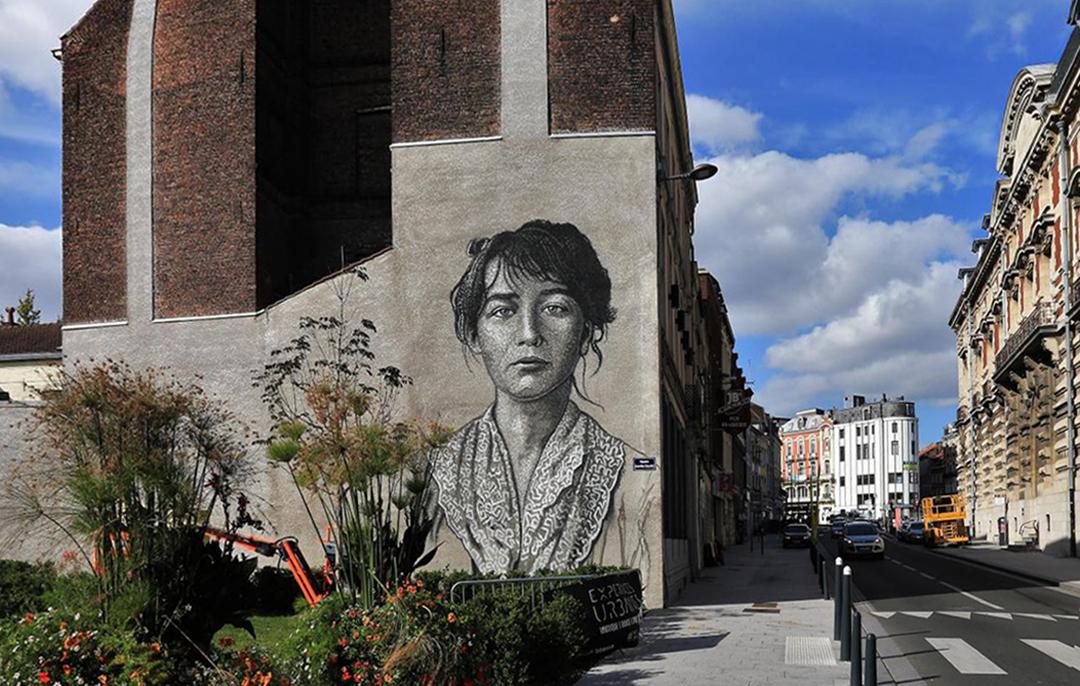 #streetart #mural #urbanart Portrait of the sculptress Camille Claudel By JimmyC in Roubaix, France. pic.twitter.com/Sr72VXYPwf