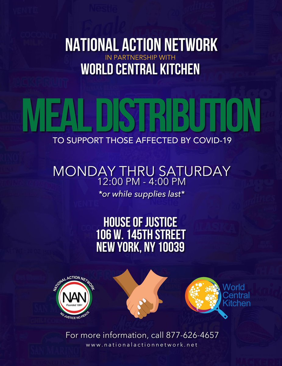 If you are in need or know someone in need be sure to join us for FREE grab-and-go meals in Harlem, NY & Newark, NJ at NAN House of Justice & NAN Tech World. We will start at noon and end at 4pm! 📍106 W. 145th Street New York, NY 10039 📍400 Hawthore Ave Newark, NJ 07112