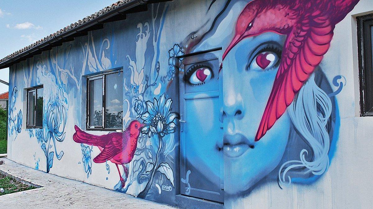 "#streetart #mural #urbanart ""Seeing through the eyes of love"" By Nasimo in Avren, Bulgaria. pic.twitter.com/GRl2ZxyyXv"