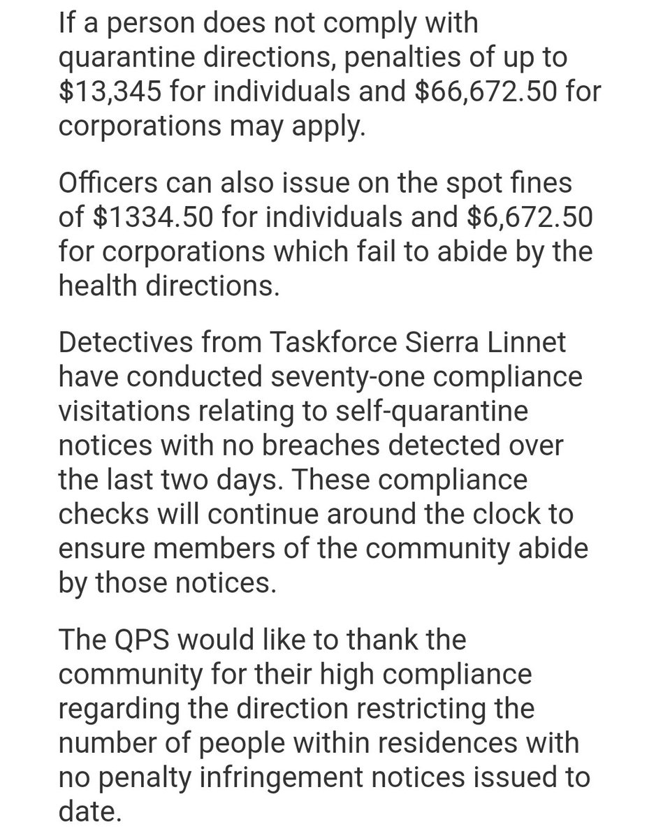 Australia is practically in lockdown & police here in queensland can (and have been) issuing large fines for too many people together. (Screenshot from @QldPolice public information)pic.twitter.com/0XTiuRiQgm