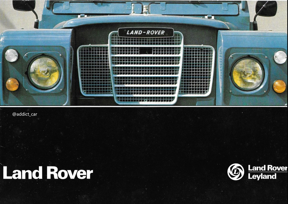Land Rover was one of the jewels in British Leylands crown, and a considerable export success for the state-owned company. This French brochure from 1978 shows some of the many bodystyles the short-wheelbase 88 and long-wheelbase 109 were offered in. #carbrochure #LandRover