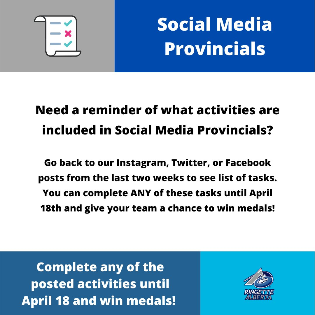 Reminder that you have until April 18th to complete any of the tasks in Social Media Provincials. Take a look at past lists by going through our Facebook, Twitter, or Instagram posts. New activities will be posted next week! #ringetteab #socialmediaprovincials #AlbertaCarespic.twitter.com/GwCvUpv6ca