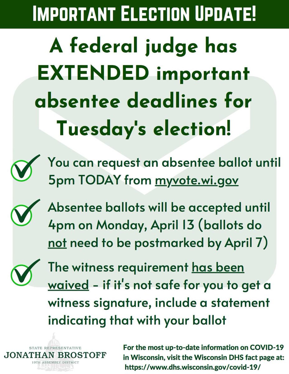 Important election news - a federal judge has EXTENDED important absentee deadlines for next Tuesday's election!