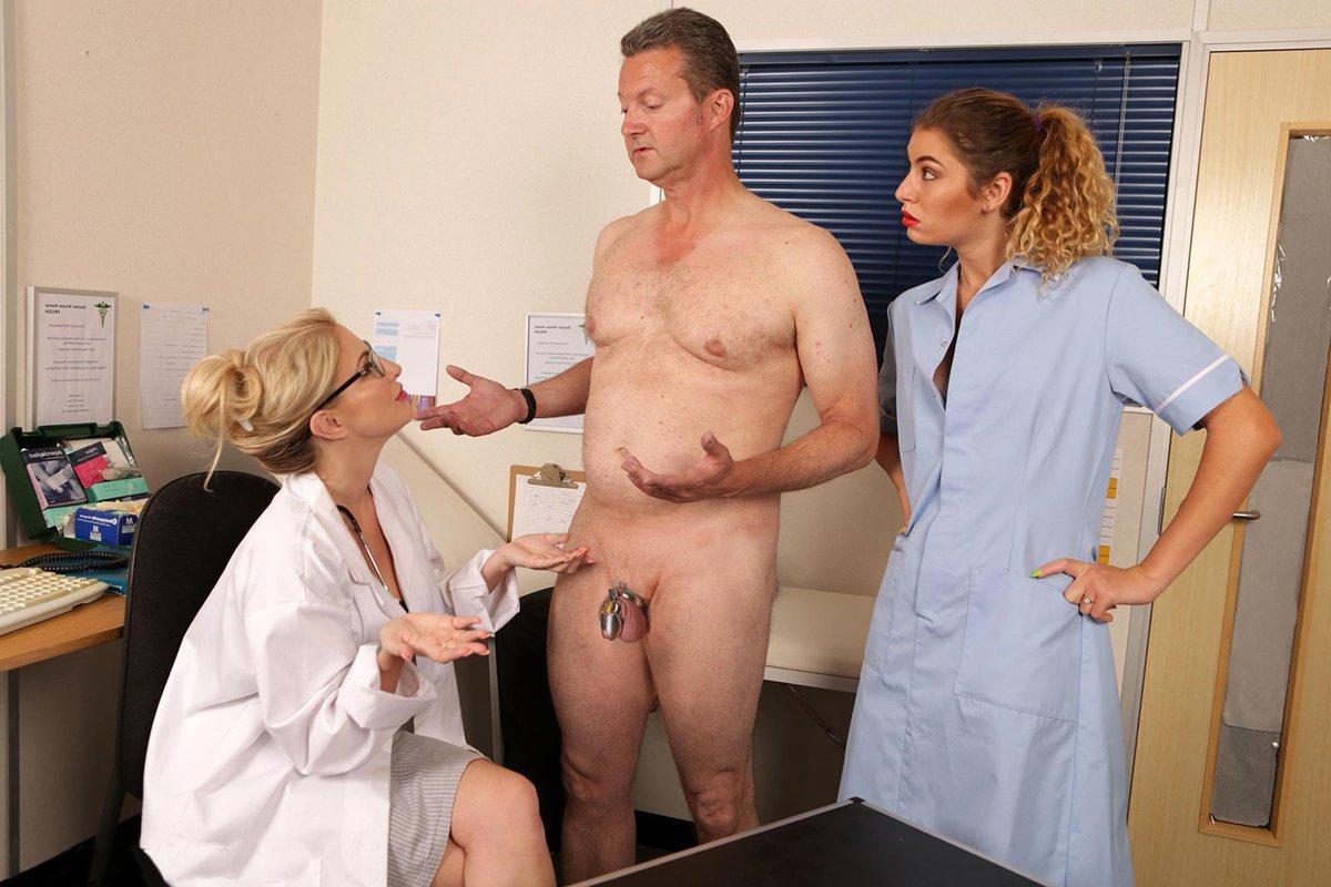 Doctor test her nurse penis