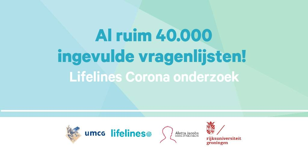 TopDutch citizens are great 💪  40,000 of us have already done their bit for Coronavirus research - filling out the questionnaire of @LifelinesNL @umcg @AlettaJacobsSPH and @univgroningen . And there's more of them to come  🔍