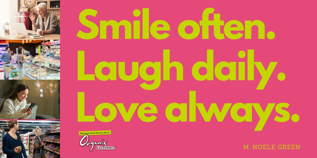 """Despite COVID-19 remember to """"Smile often. Laugh daily. Love always."""" - M. Noele Green @HealthyChoiceOE @ChemFreeChoice   #smile #smilemore #smiles #laugh #laughter #love #bekind #healthychoice #naturalpure #naturallypure #organicbeauty #organicbeautyproducts pic.twitter.com/GCuEu7ApKu"""