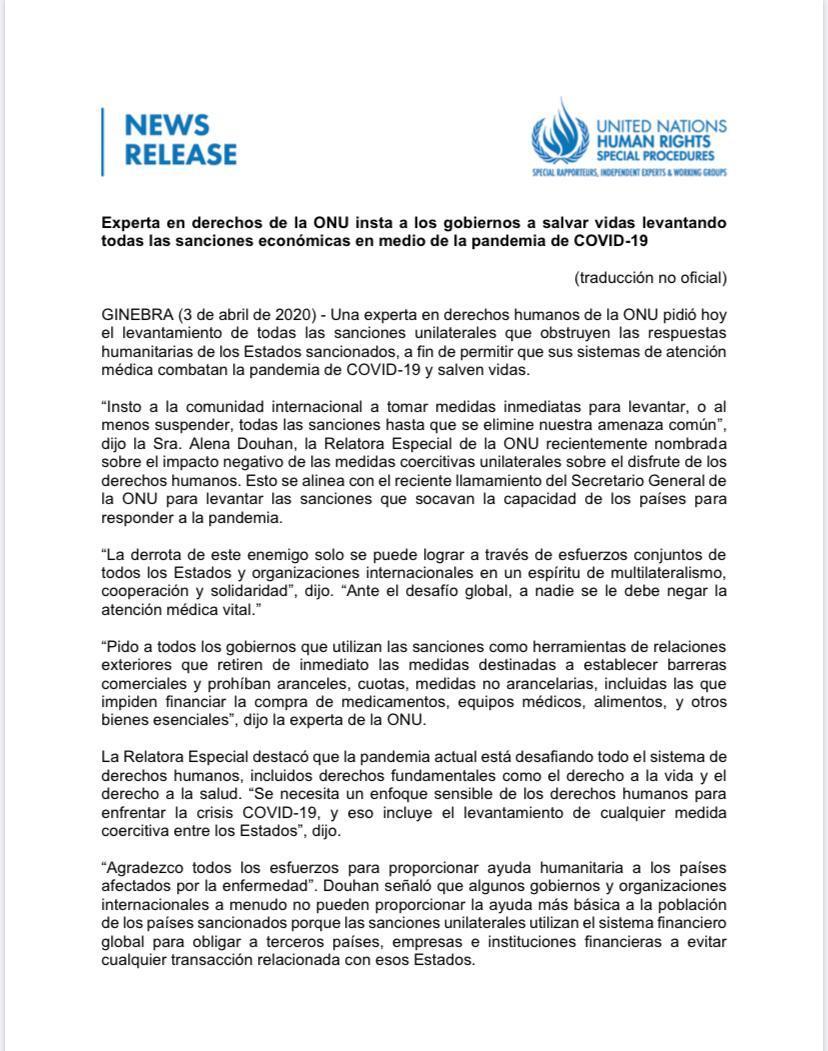 La Relatora de la ONU para Medidas Coercitivas Unilaterales, Alena Douhan, insta a los gobiernos que usan las sanciones como parte de su política exterior a levantarlas inmediatamente y unirse a un espíritu de cooperación, multilateralismo y solidaridad frente al #Covid_19 https://t.co/RAKZULccrC