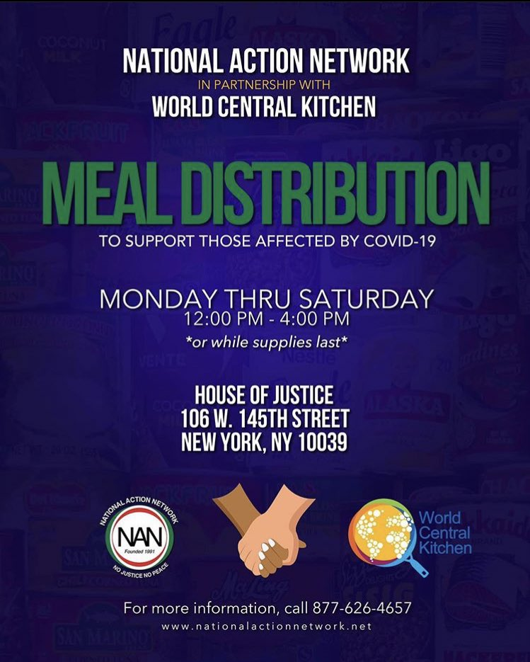 If you are in need or know someone in need be sure to join us for FREE grab-and-go meals in Harlem, NY & Newark, NJ at NAN House of Justice & NAN Tech World. We started at noon and end at 4pm! 📍106 W. 145th Street New York, NY 10039 📍400 Hawthore Ave Newark, NJ 07112