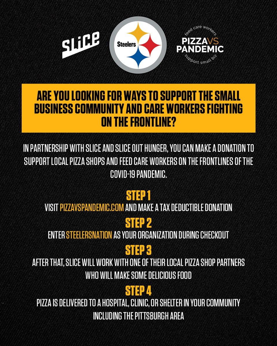 The @steelers have teamed up with @slice & @SliceOutHunger to support local pizza shops and feed care workers on the frontlines of the COVID-19 pandemic. Donate now: bit.ly/3bQUpFo