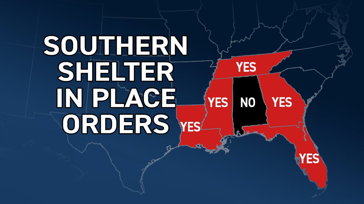 Current shelter in place orders across the Deep South….