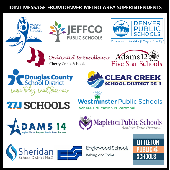 In the best interest of the communities we serve, a group of Denver metro area superintendents have decided to keep school buildings closed & continue remote learning for the remainder of the 2019-20 school year. Read the superintendents' joint message at bit.ly/2xP1jw9.