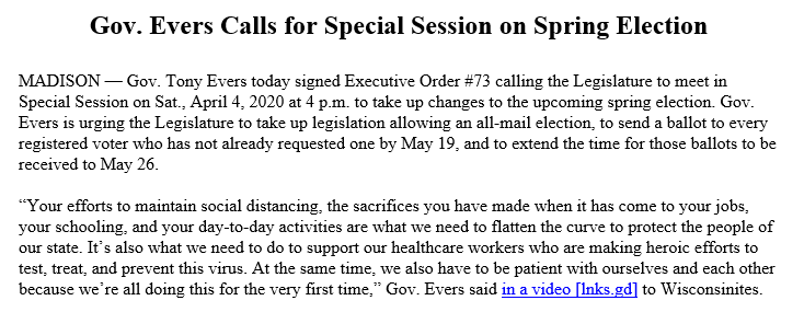 Wisconsin Gov. Tony Evers (D) calls a special session to make Tuesday's primary an all mail-in ballot election and extend the deadline for ballots.