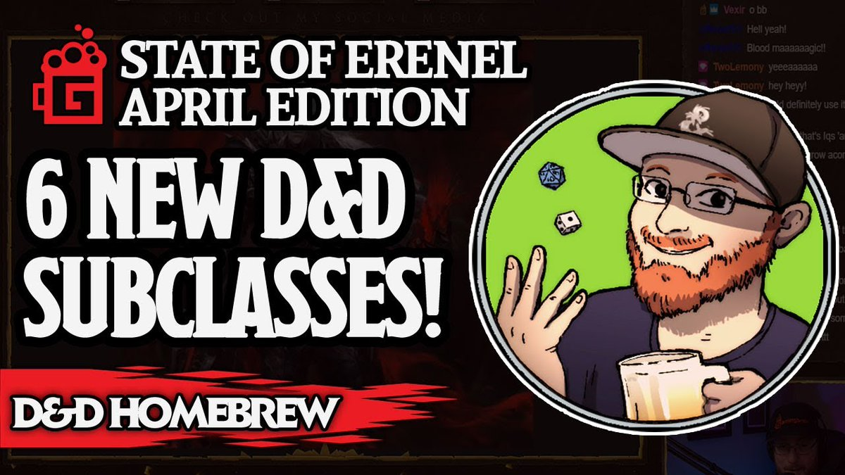Brews brings you all the latest Erenel news and content updates for April. Including #dnd5e homebrew for six subclasses, spells, artifacts, and more  Watch Now https://youtu.be/LehJXXR6YVo  #dungeonsanddragons #Youtuber #supportsmallyoutubers #smallyoutuber #SmallYouTuberArmypic.twitter.com/DInsF8ZBC2