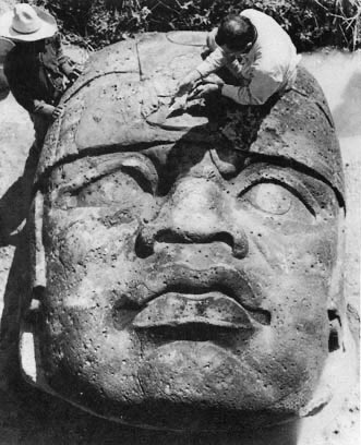 """The excavation of """"El Rey,"""" the first of ten Colossal Heads discovered at the Olmec site of San Lorenzo!"""