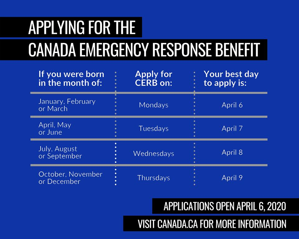 You can start your applications for the Canada Emergency Response Benefit (CERB) on Monday, April 6. Find out more at: http://www.canada.ca/en/services/benefits/ei/cerb-application.html …  #covid #selfisolation #socialdistancing #covid_19 #cdnpoli #canpoli #cpcpic.twitter.com/1e8bytimuG