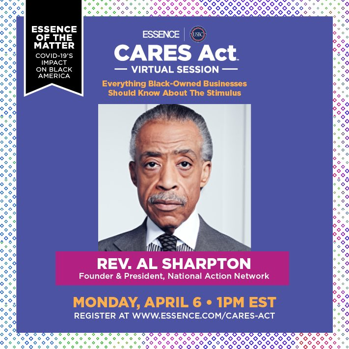 Join me Monday 4/6 for an @Essence virtual session about black owned businesses, what to know about the stimulus, and more. Register today at essence.com/cares-act
