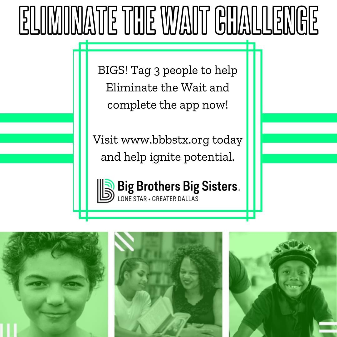 BIGS, It's challenge time! Tag 3 people to help eliminate the wait. Get our Littles off the wait list and with their Bigs! Let's make a difference together#BBBS #EliminateTheWait #BiggerTogether #CompleteTheApp #IgnitePotential #MentoringMatters #MakeADifference #BeABig pic.twitter.com/eLZ41Jrg5w