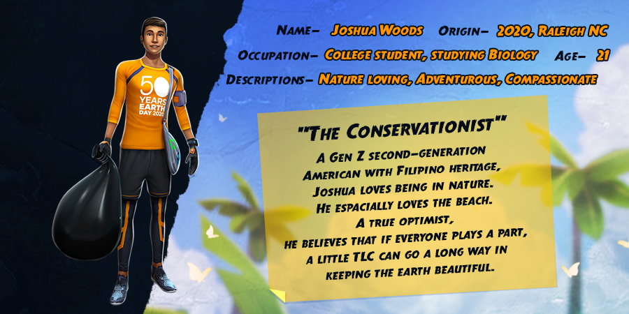 Get to know Joshua Woods! He loves nature and being environmentally friendly is his  #1 priority. Joshua is supporting #EarthDay20 with a special 50th Anniversary activewear that will not return to #TempleRun2. Proceeds go to the #GreatGlobalCleanup!  #EarthDayNetwork #TrashTag