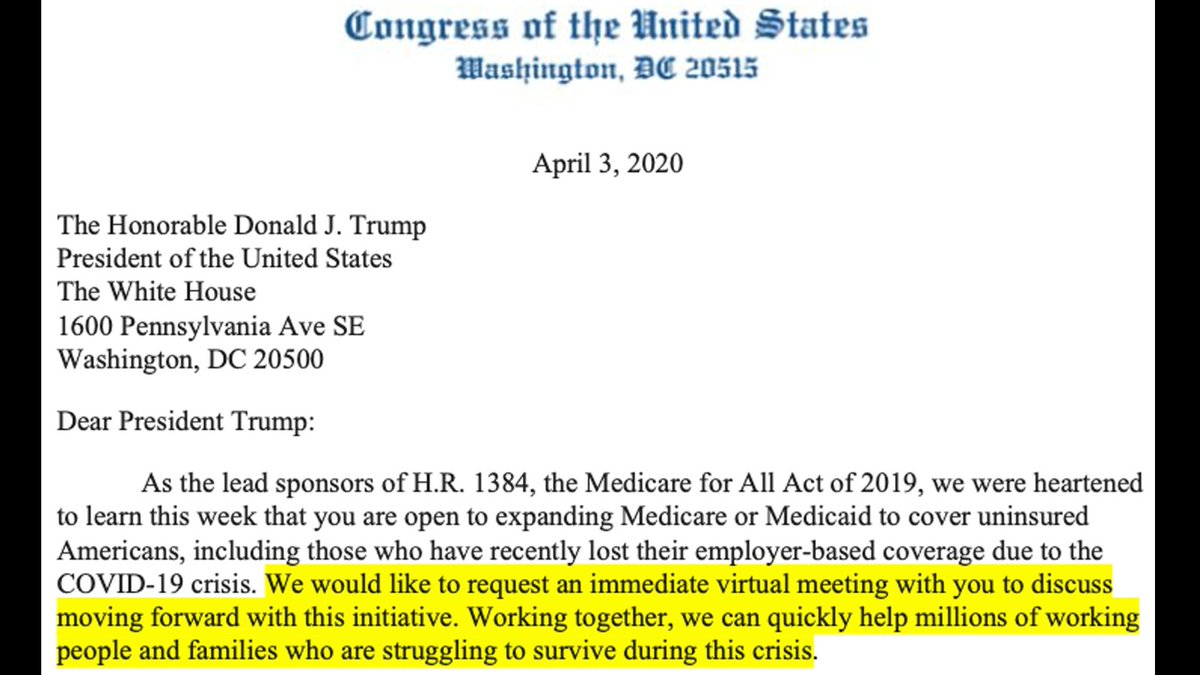 NEWS: After Trump floats Medicare expansion, Democratic co-chairs of the House Medicare for All Caucus request meeting with @RealDonaldTrump to discuss immediately passing bipartisan legislation