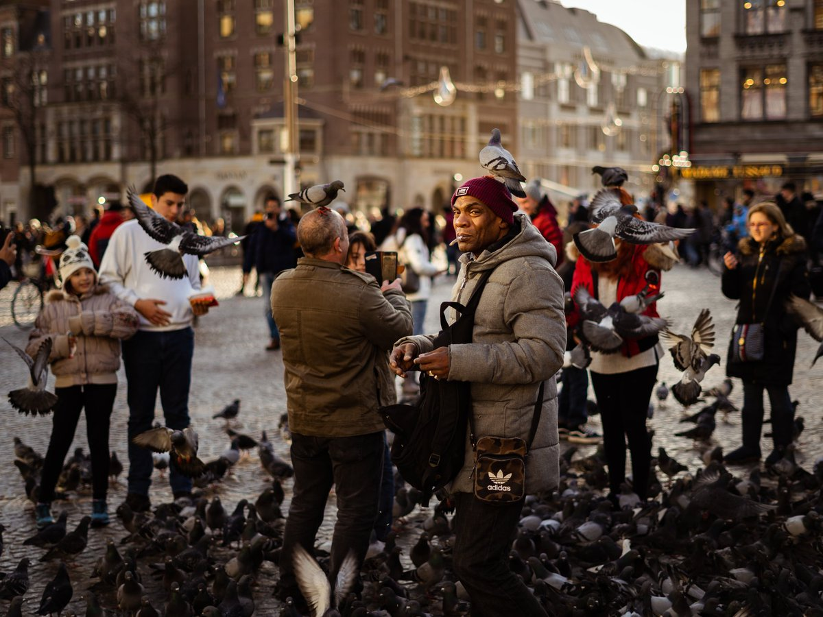 The pigeon man of Amsterdam  In 2019, we visited freezing cold Amsterdam. This guy was giving people bird feed while he himself was getting mobbed by pigeons. I started snapping and the light caught him perfectly!  #StreetPhotography #Amsterdam #Holland #BeAlpha #StreetPhotopic.twitter.com/oFrmuJ5N3p