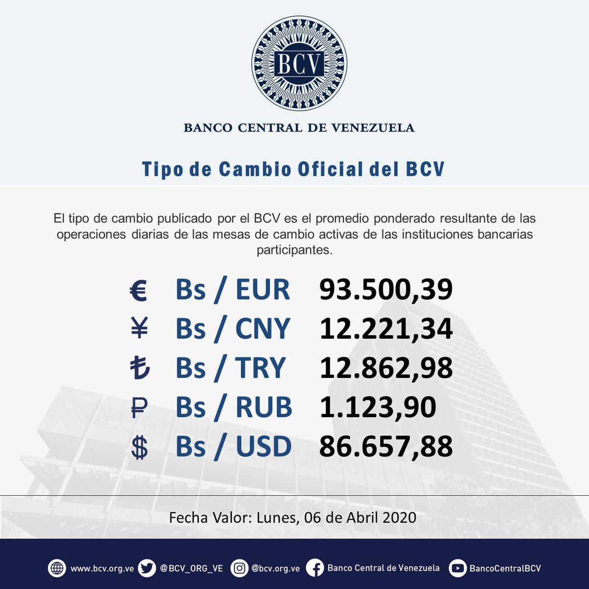 Atención|| El tipo de cambio publicado por el BCV es el promedio ponderado de las operaciones de las mesas de cambio de las instituciones bancarias. Al cierre de la jornada del viernes 03-04-2020, los resultados son:  #MercadoCambiario #BCVpic.twitter.com/2srrc5RoBa
