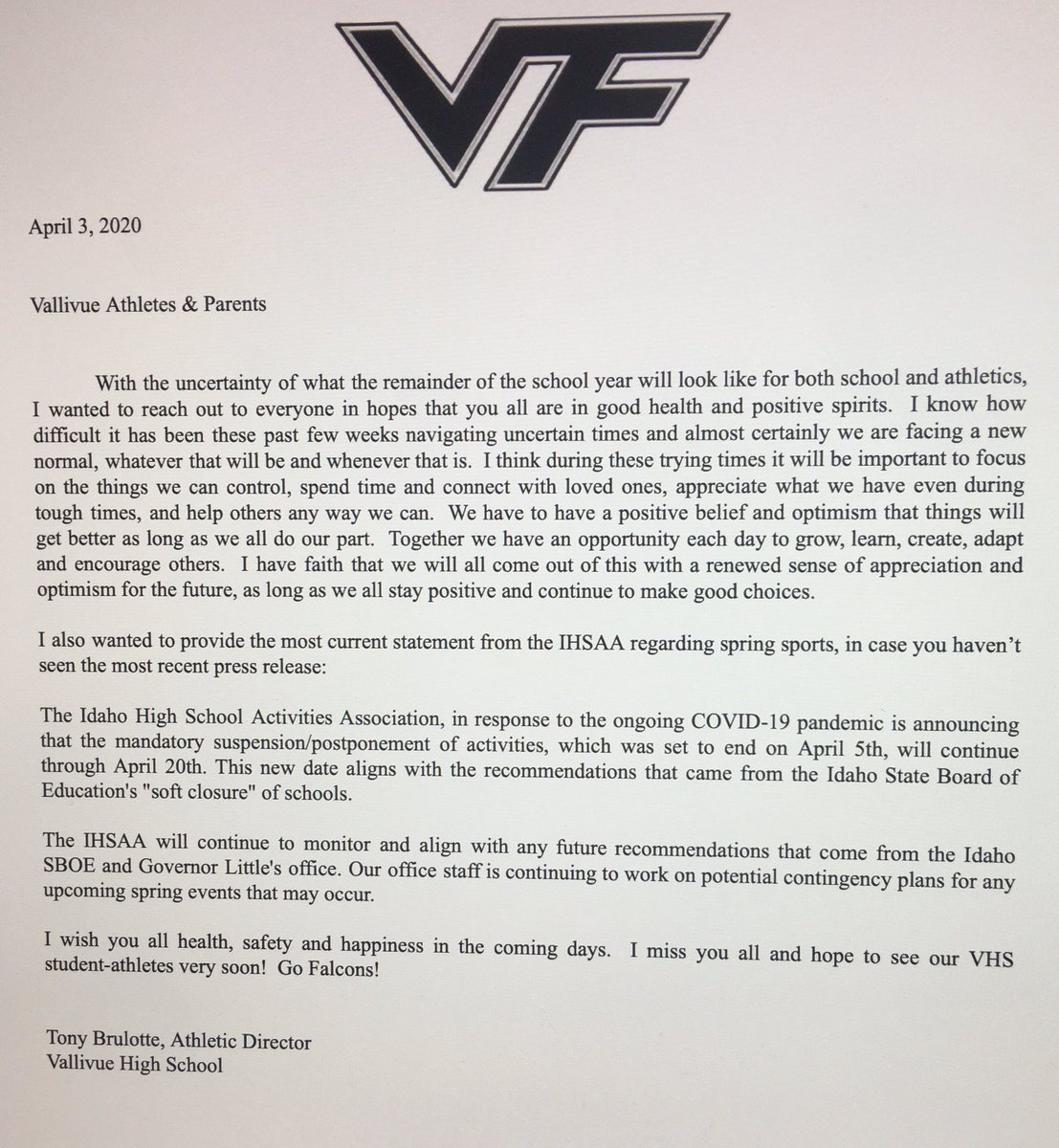 Hey all @officialvhs2 student athletes and parents!  Please see the attached letter from the Athletic department at VHS  @VallivueSoftbll @VallivueVideo @Vallivue_Hoops @vhsbaseball1 @VF_Football @michaellycklama @MrIdahoPreps @FalconTerritory @VallivueGirls #goldbloodedpic.twitter.com/tNdaStK3UK