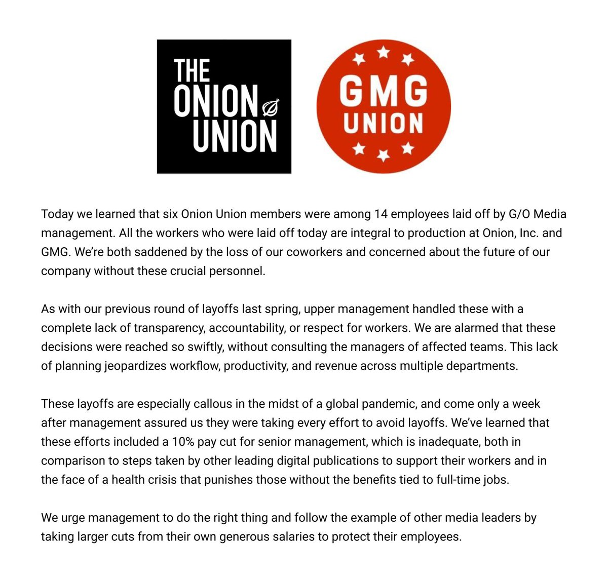our statement regarding the layoffs at G/O media today: