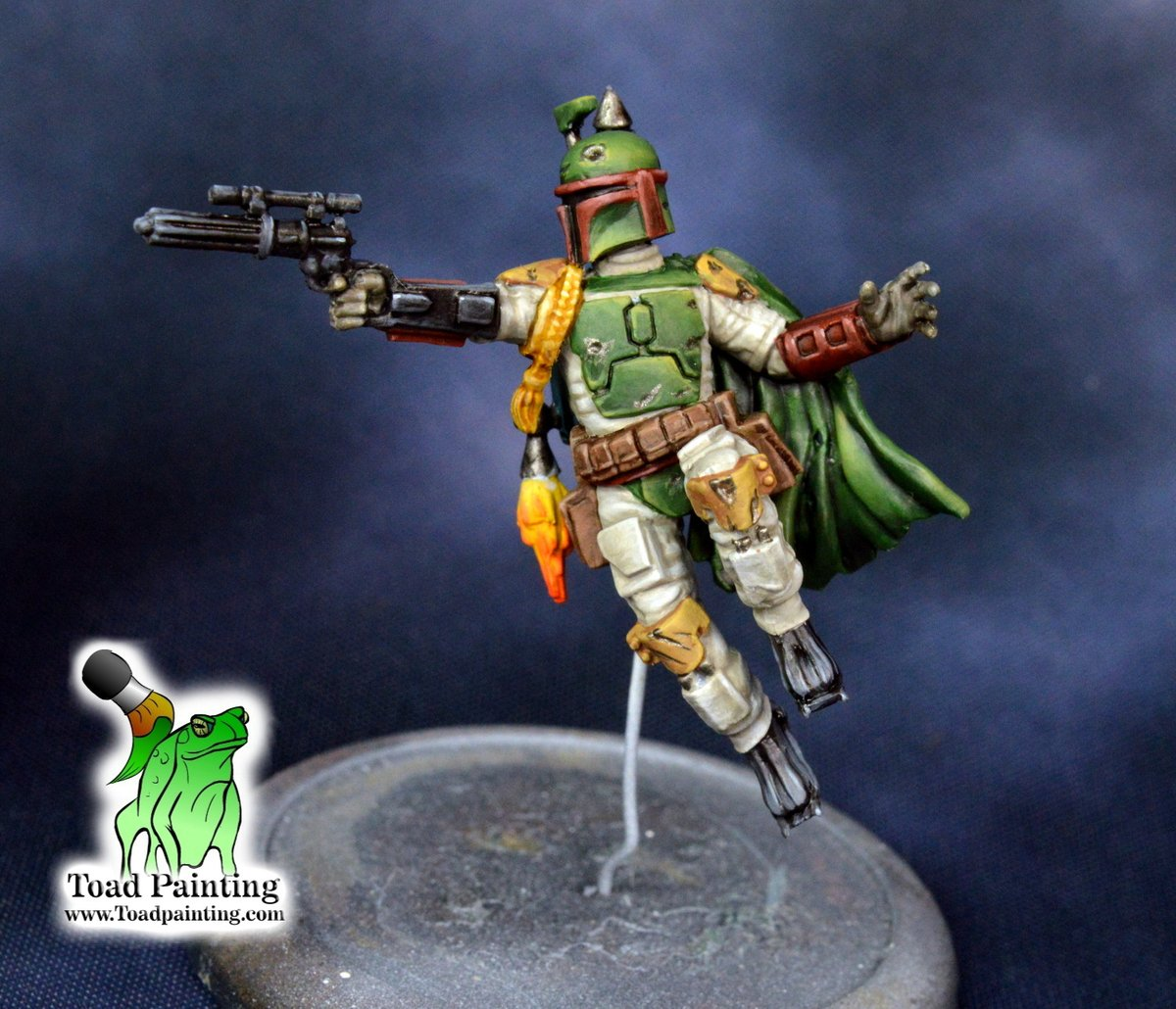 WIP of everyone's favorite bounty hunter! Boba Fett from #StarWarsLegion . Just a few touch ups to go and figure out what kind of base I want to put him on.  #minipainting #miniaturepainting #StarWars   #Warmongers https://t.co/Sr2unX9EQa
