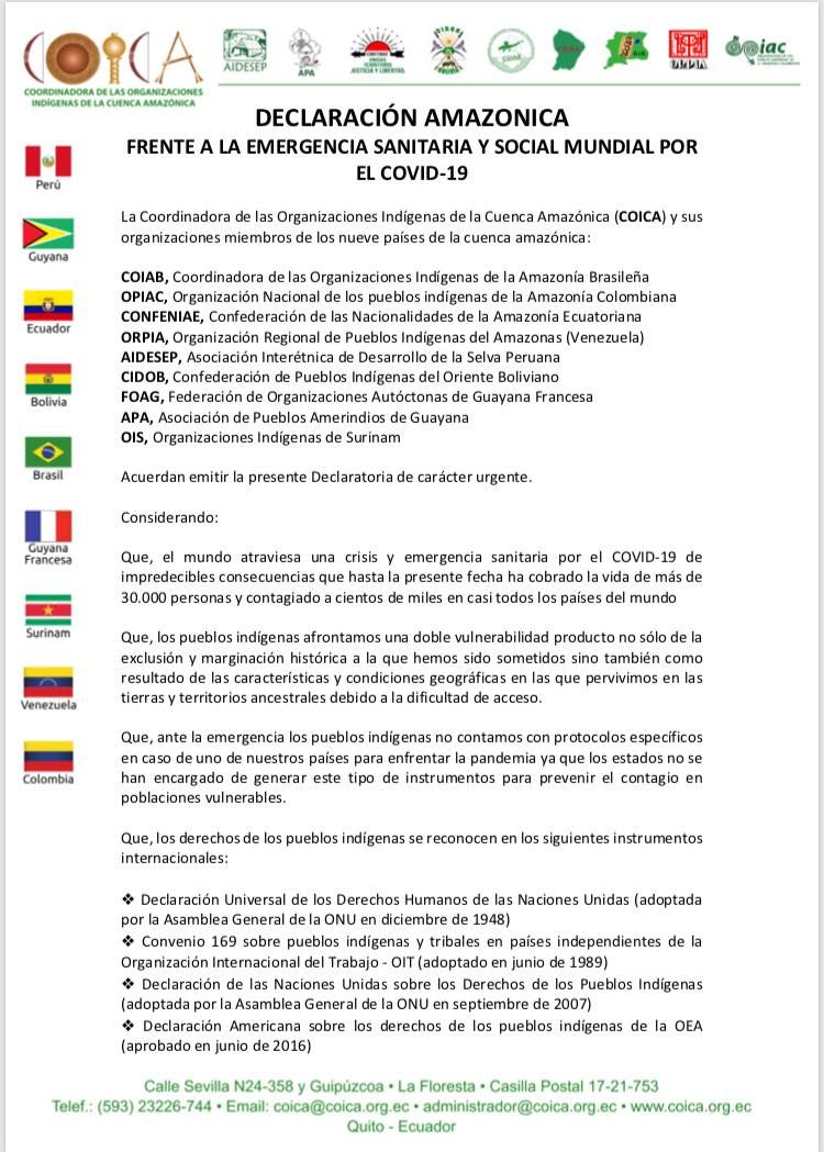 . @coicaorg released #DeclaracionAmazonica, demanding that @Lenin @MartinVizcarraC @IvanDuque @NicolasMaduro @jairbolsonaro take action to protect indigenous peoples from #COVID19 & halt operations by the extractive industries on their lands. Retweet your support👇