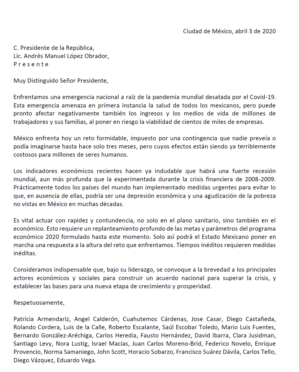 Carta abierta a @lopezobrador_ https://t.co/2j3W0VYzFd