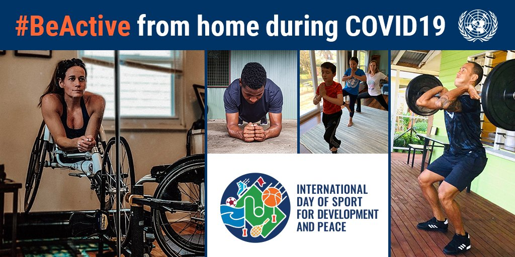 💃🏽Dancing 🧘🏻Stretching 🤸🏾Online workout classes There are many ways to #BeActive at home during the #COVID19 pandemic. Get moving on Mondays Intl Sports Day for Development & Peace. un.org/en/observances…