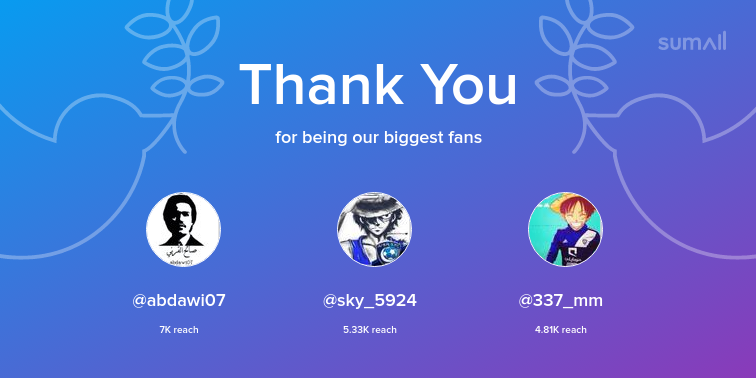 Our biggest fans this week: abdawi07, sky_5924, 337_mm. Thank you! via sumall.com/thankyou?utm_s…