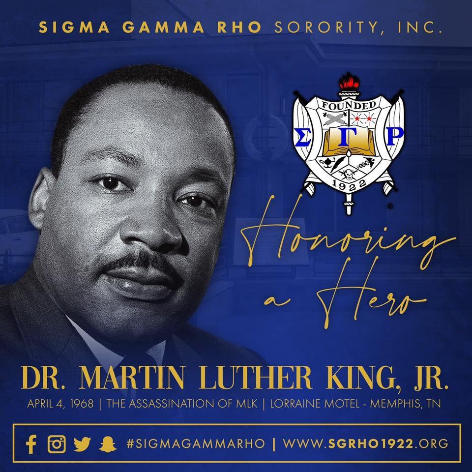 Today we honor the life of a hero. Rest In Peace Dr. Martin Luther King, Jr.  #SigmaGammaRho #SGRho #MartinLutherKingJr pic.twitter.com/BGRuCDc81r