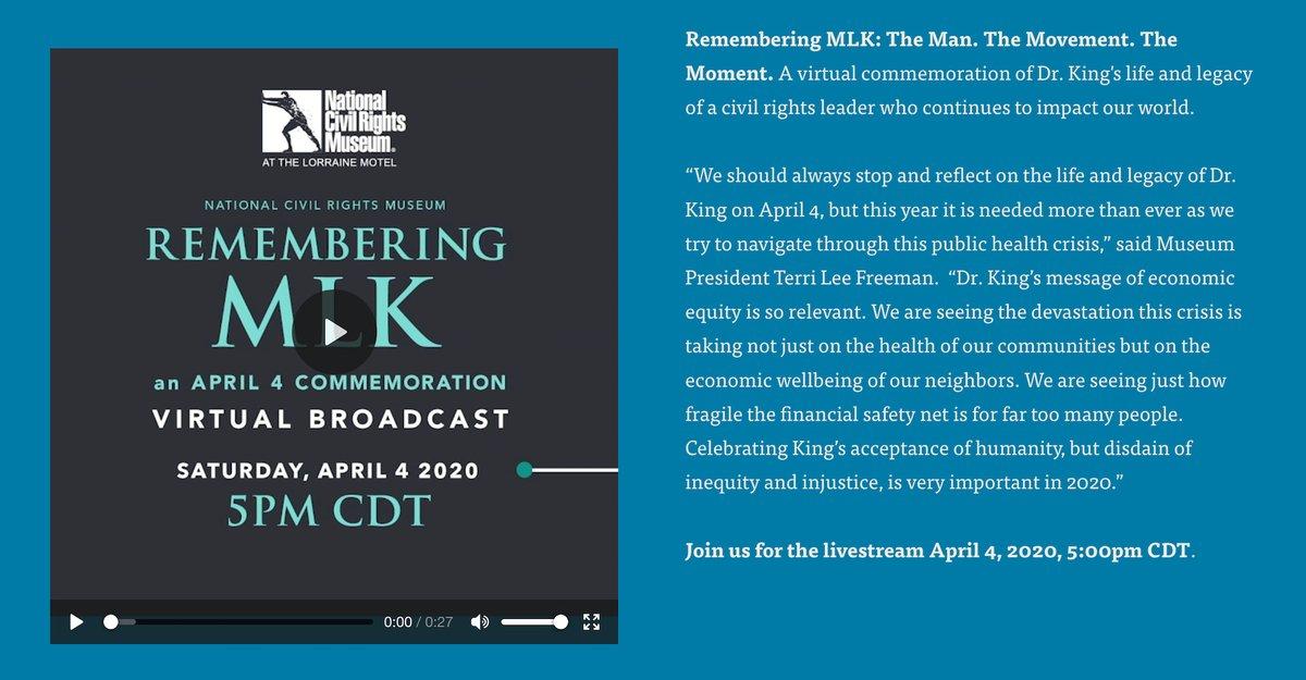 Today, April 4th, join the online #RememberingMLK webcast live from @NCRMuseum in #Memphis TN: https://www.civilrightsmuseum.org/april-4th-commemoration… #MLK #MLK52 #PPC #MartinLutherKingJr pic.twitter.com/TtXh6Zvq4g