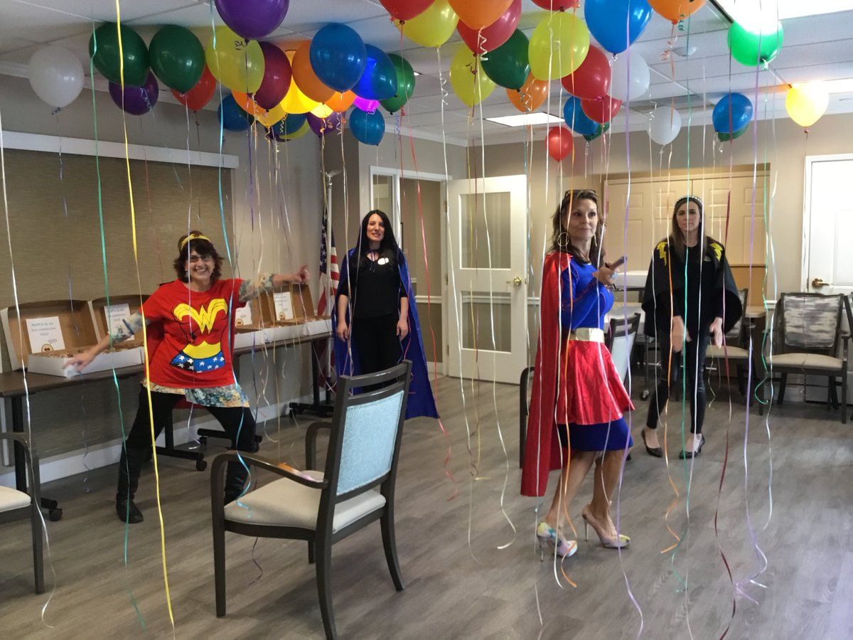 This week, we celebrated our front-line staff with a superhero party! We had fun dressing up and enjoyed sweet treats and bagels. #HealthcareHeroes #Superheroes #SeniorCare <br>http://pic.twitter.com/UeHNACQNGW