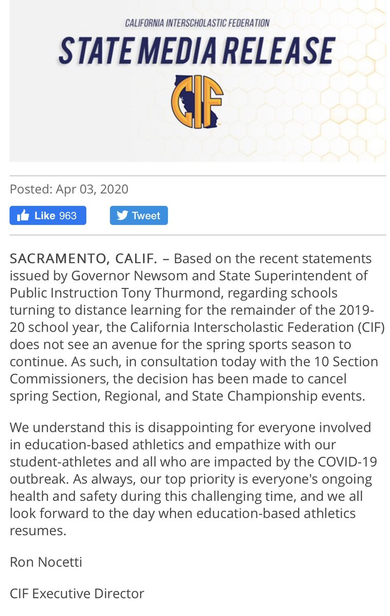 It's a sad day for the California High School sports world. The CIF is shutting it down. No more spring sports  I am so sad for every Player, Coach, Parent, fan....everybody involved! Did the Schools & CIF jump the gun on the early decision? pic.twitter.com/Arsabxb0o2