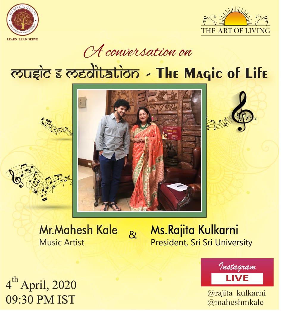 A Conversation on  Music & Meditation - The Magic of Life  Tonight Mahesh Kale will be live on Instagram with Ms Rajita Kulkarni at 9:30pm IST  Do tune in to the respective Instagram handles ( @maheshmkale , @rajita_kulkarni )  #MKLive #InstagramLivepic.twitter.com/UtC0Xn03xM