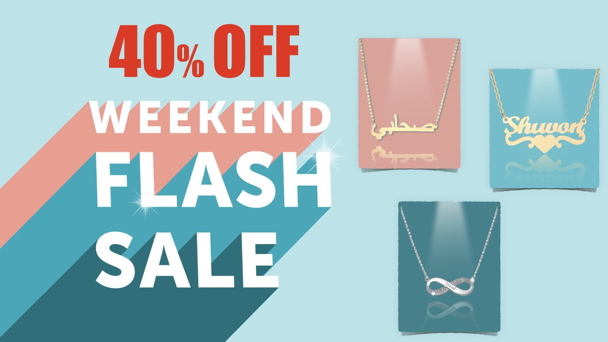 ⚡️FLASH SLAE⚡️ Take 💥40% off ALL Personalized orders placed from 4/3- 4/5   - - US orders $35+ qualify for FREE SHIPPING - #FlashSale #SALE #TJE #JewelrySale #CustomDesign #Personalized #FreeShipping #Arabic #Infinity