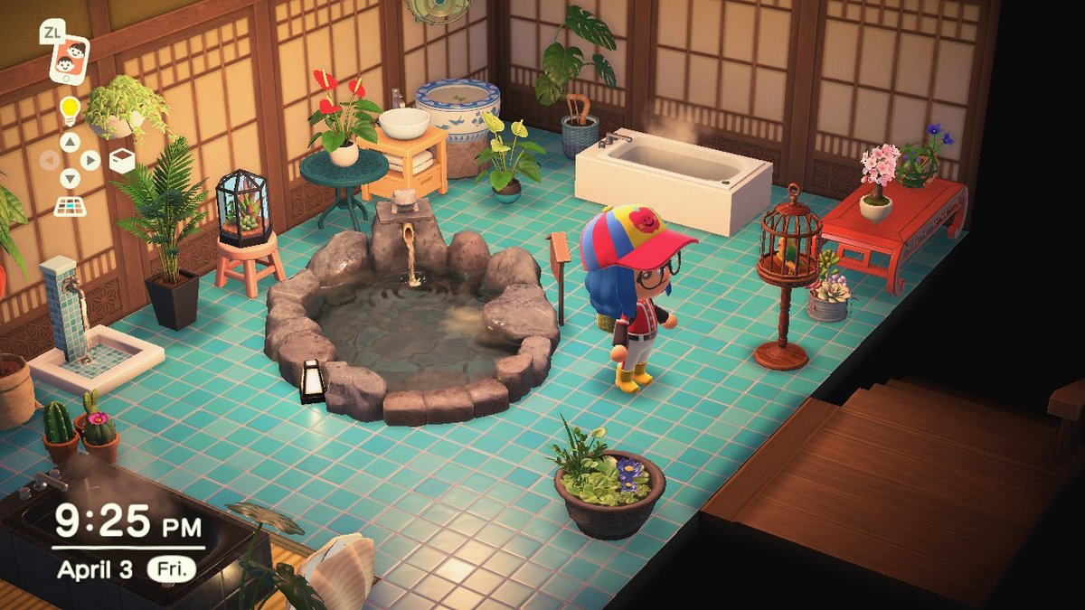 Been playing around with my greenhouse/bathhouse. #AnimalCrossing  #ACNH <br>http://pic.twitter.com/9wsHJuqE6B