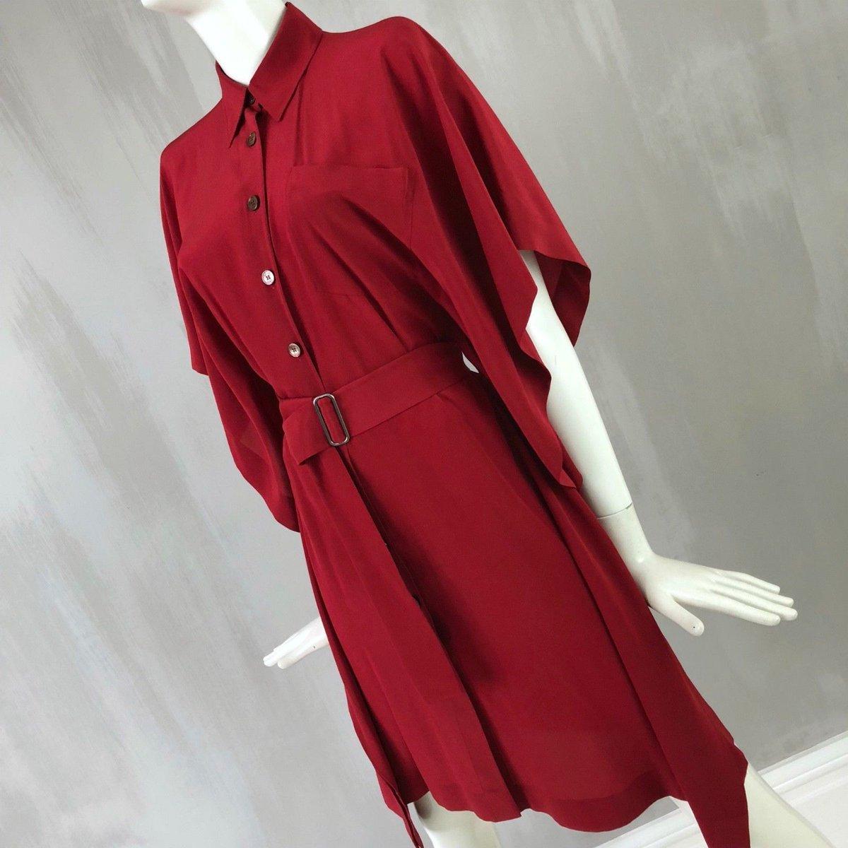 Hermes #Women #Red #Silk #Shirt #Cape #Belt #Day #Cocktail #Summer #Dress #Size XS 34 US 2