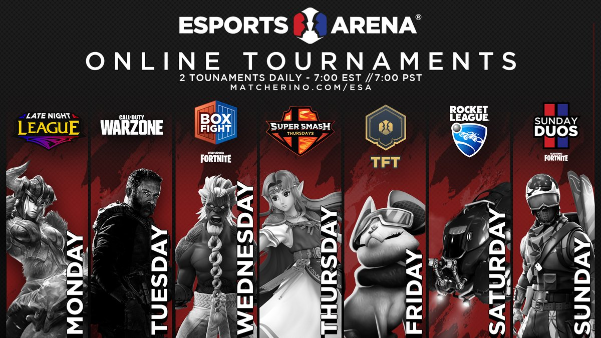 SUNDAY FORTNITE DUOS TOURNAMENTS!  Every Sunday $250 Prize Pool FREE ENTRY TWO TOURNAMENTS! 7PM EST & 7PM PST TWO CHANCES TO WIN  Register: https://matcherino.com/esa  #EsportsArena #Esports #Fortnite #FortniteTournament #FortniteDuospic.twitter.com/DAfYtINPw5
