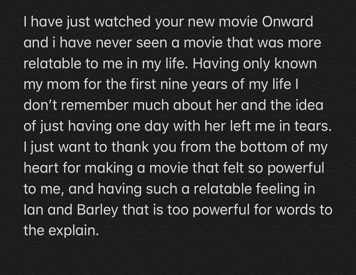 I don't know if the good people at @Disney @Pixar or even if it makes it's way to @prattprattpratt and @TomHolland1996 if they would read this. I've just watched @pixaronward and it has made its way to the list of one of the few movies to make me cry. https://t.co/okeiFQjtUR