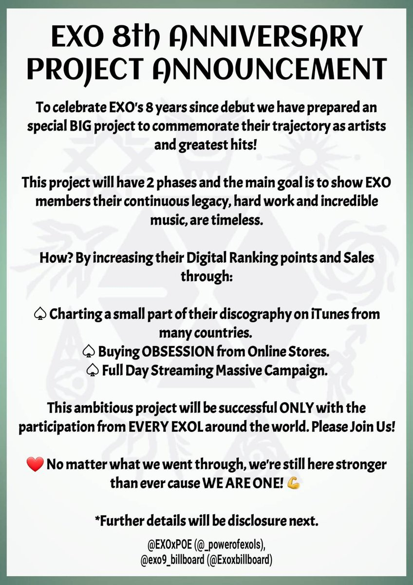 """ANNOUNCEMENT  """"EXO 8TH ANNIVERSARY PROJECT""""  Join us celebrating #EXO trajectory by celebrating their music and legacy!  Pls read carefully & help us by spreading this information in order to make our celebration successful   Stay tune for more info at 10pm KST @weareoneEXO<br>http://pic.twitter.com/l7YaMHHOcM"""