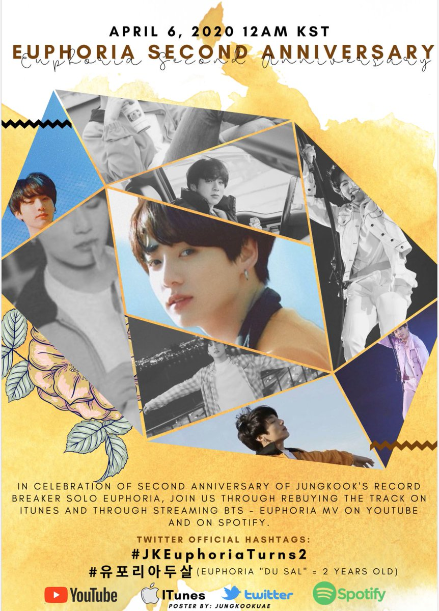 On April 6 at 12:00 AM KST, join us as we celebrate the Second Anniversary of #Jungkook's  'Euphoria' Theme of Love Yourself Wonder by:  Buying Euphoria on ITunes  Streaming Euphoria on Youtube &amp; Spotify  Trending Party using the ff Hts:  #.JKEuphoriaTurns2 #.유포리아두살 <br>http://pic.twitter.com/0VCkQYOztG