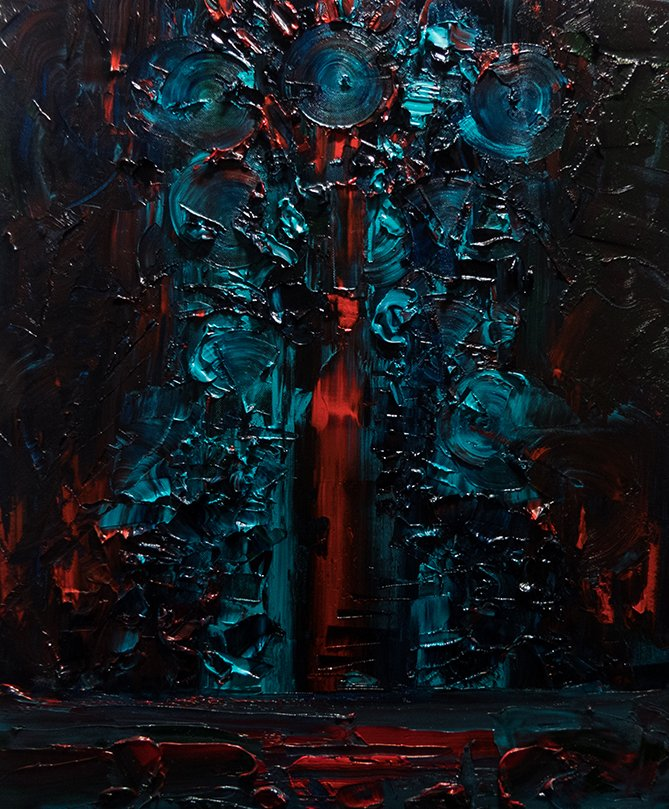 Citadel 2 Oil on canvas 50 x 60 cm #oiloncanvas #canvas #oil #painting #red #abstract #lovecraft #citadel #monster #seaofblood #sky #horror #blue #Bordeaux #blood #dark #fantasticart #eyes #